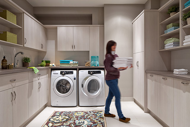 Luxurious laundry room.
