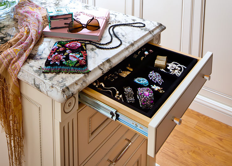 walk-in closet design ideas, jewellery drawer