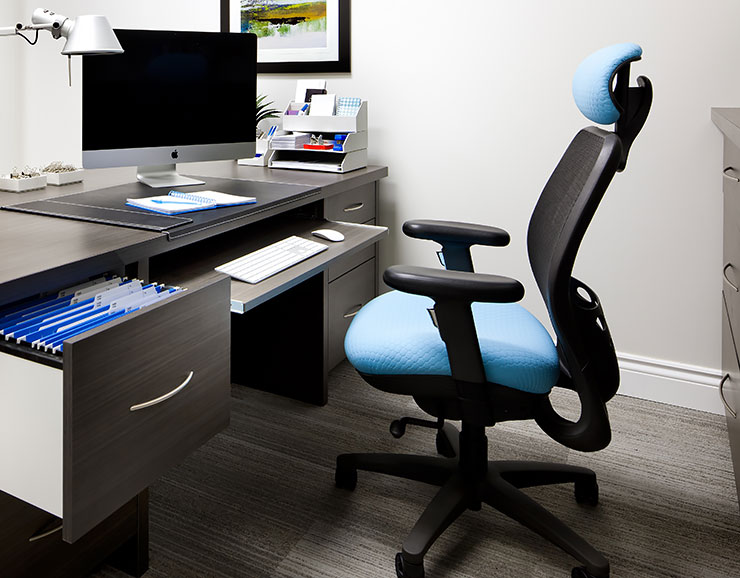 comfortable blue desk chair