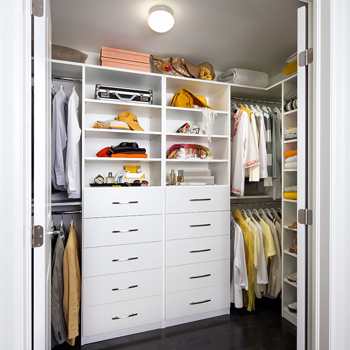 white custom closet reduces mess