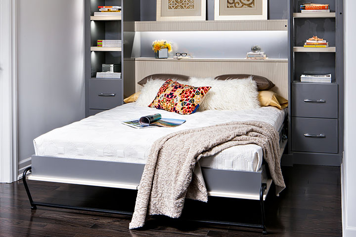 wall bed with pillows