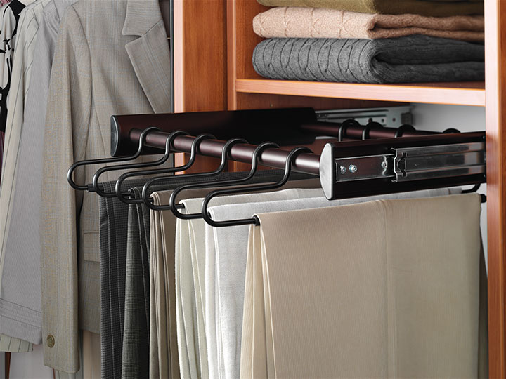 disorganized closets pant rack