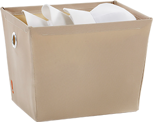 cloth storage container with white hats