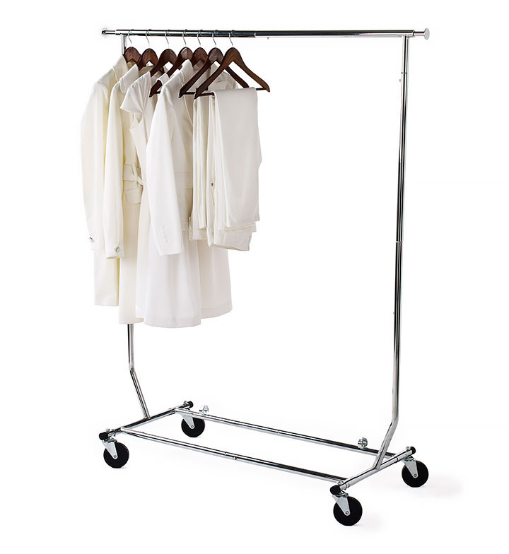 garment rack with white clothes hanging