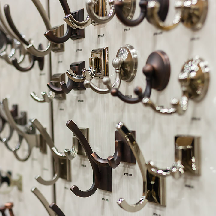 Multiple hooks of various shapes and sizes.
