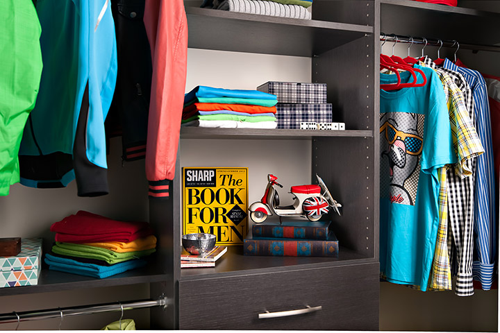 open shelves closet