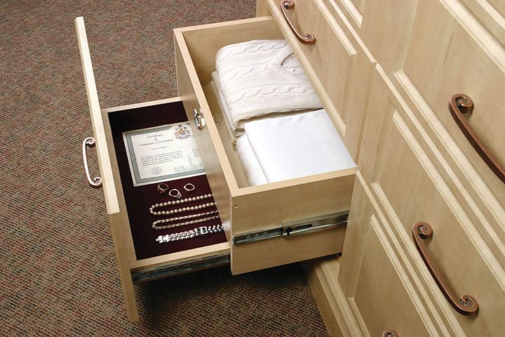 custom home organization solutions Hidden document drawer