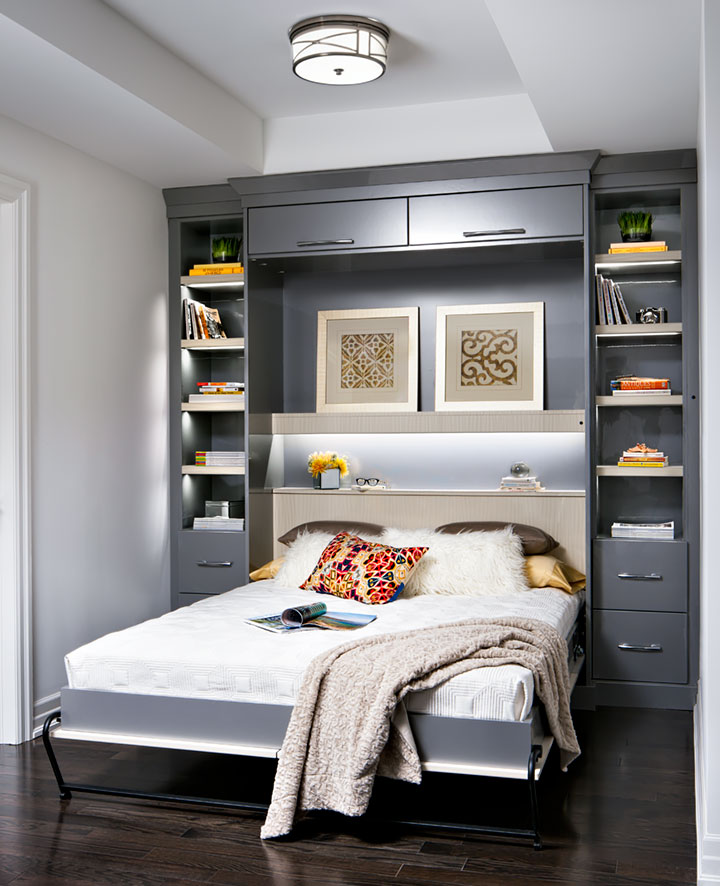 space-saving wall bed in a condo