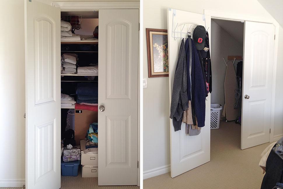 Linen closet and bedroom closet before.