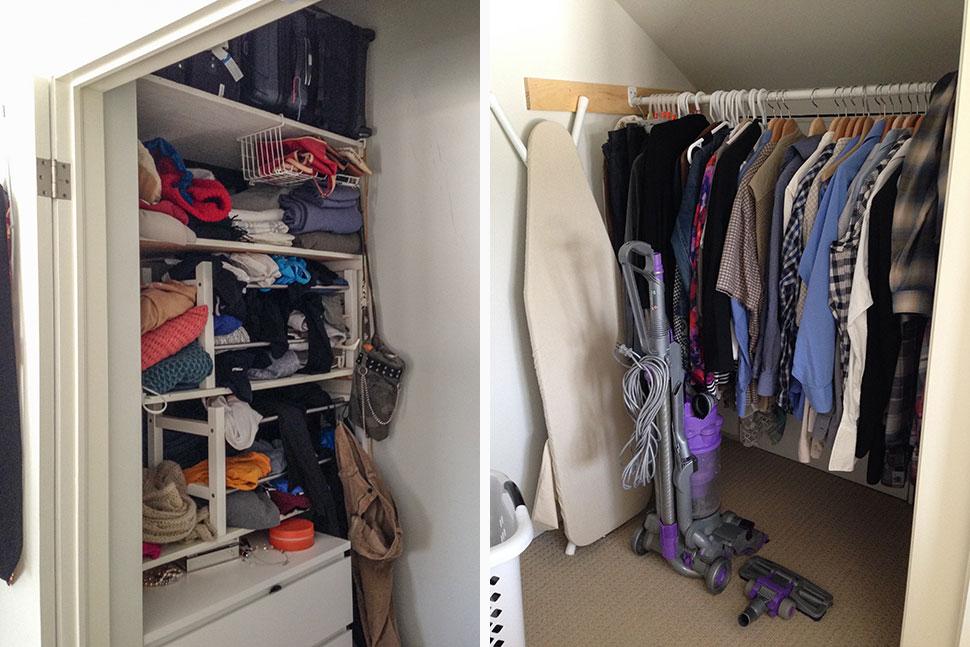 Messy master bedroom closet before.
