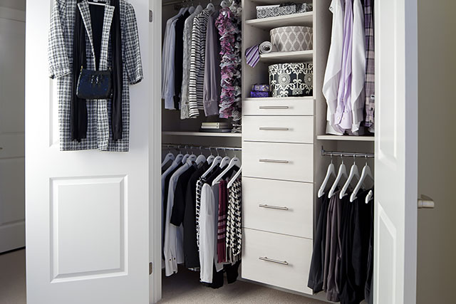 Save time with an organized bedroom closet.