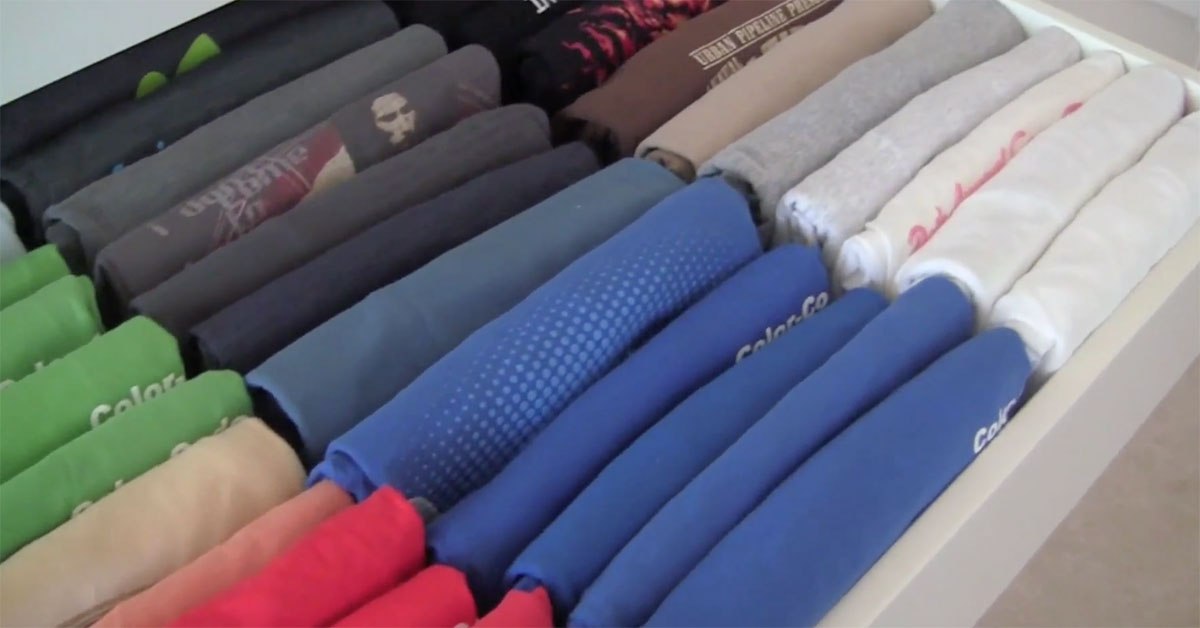 Vertically folded clothes in drawer