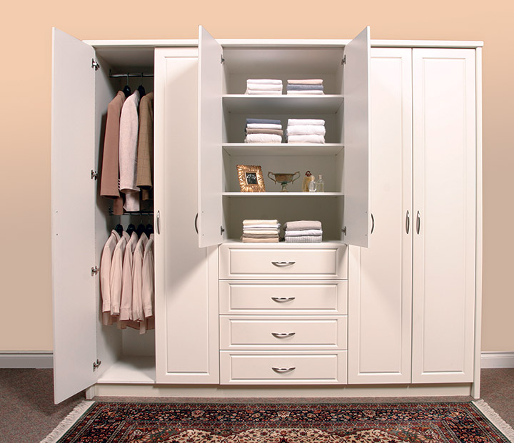 White wardrobe storage