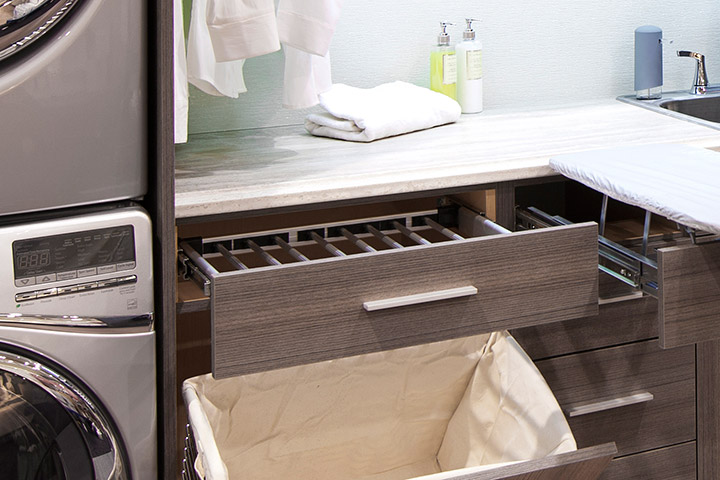 laundry room drying rack and pull-out hamper