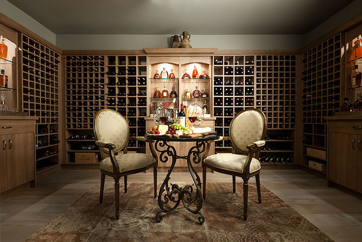 wine cellar with chairs and table, spare room