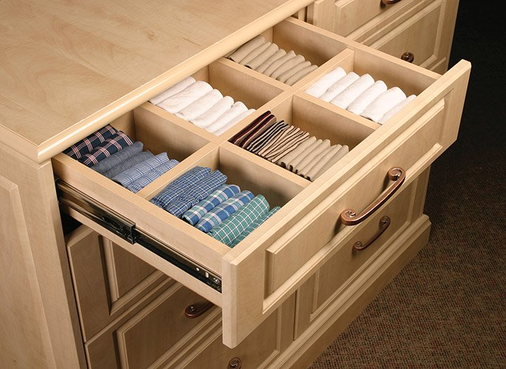 drawer with dividers in shared closet