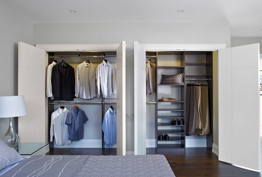 two organized reach-in closets in home