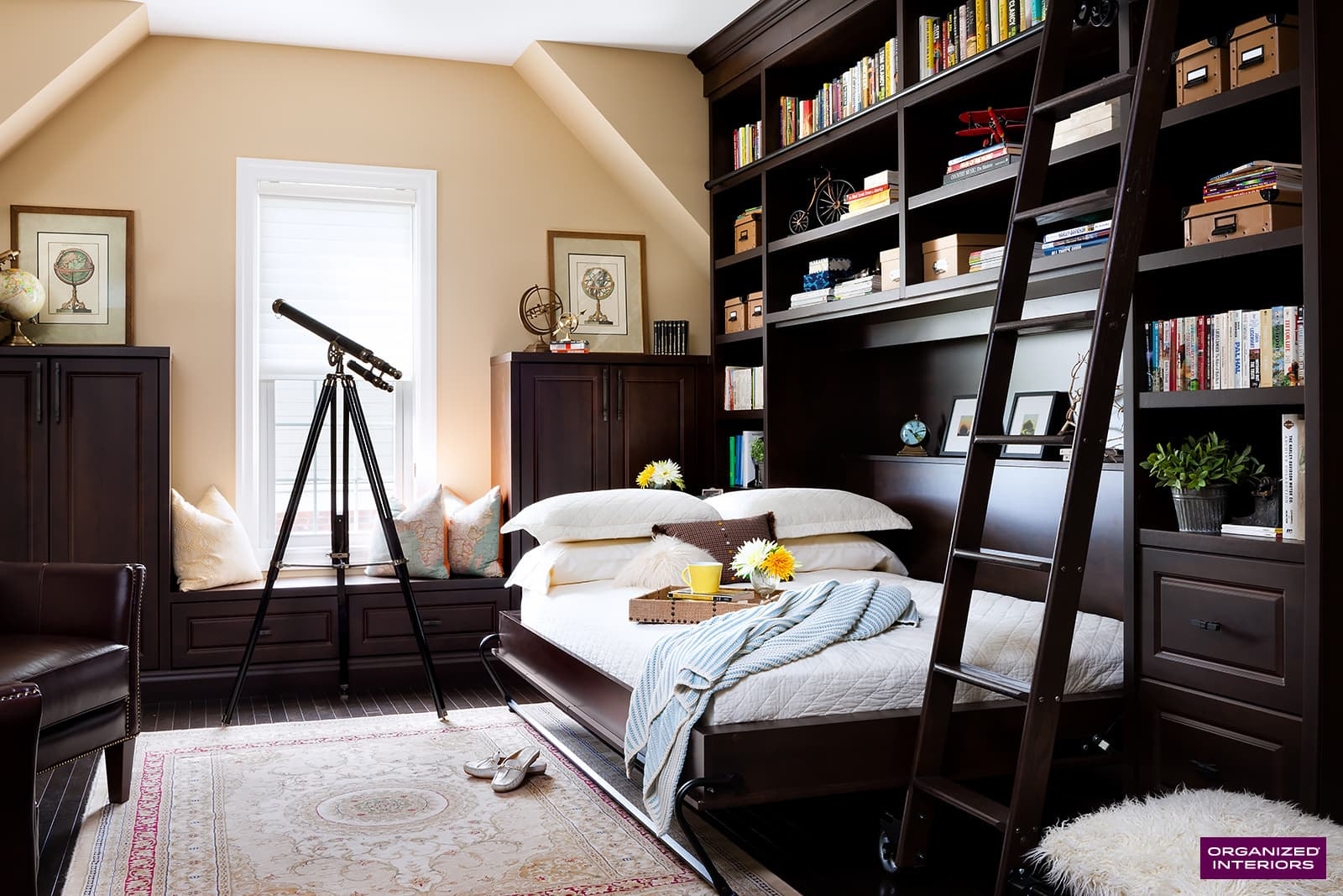 Murphy bed in down position with pillows on bed, custom built-ins, ladder, telescope and rug.