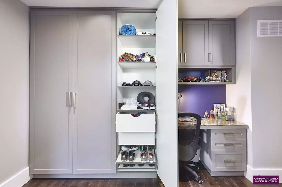 open wardrobe closet in kids room