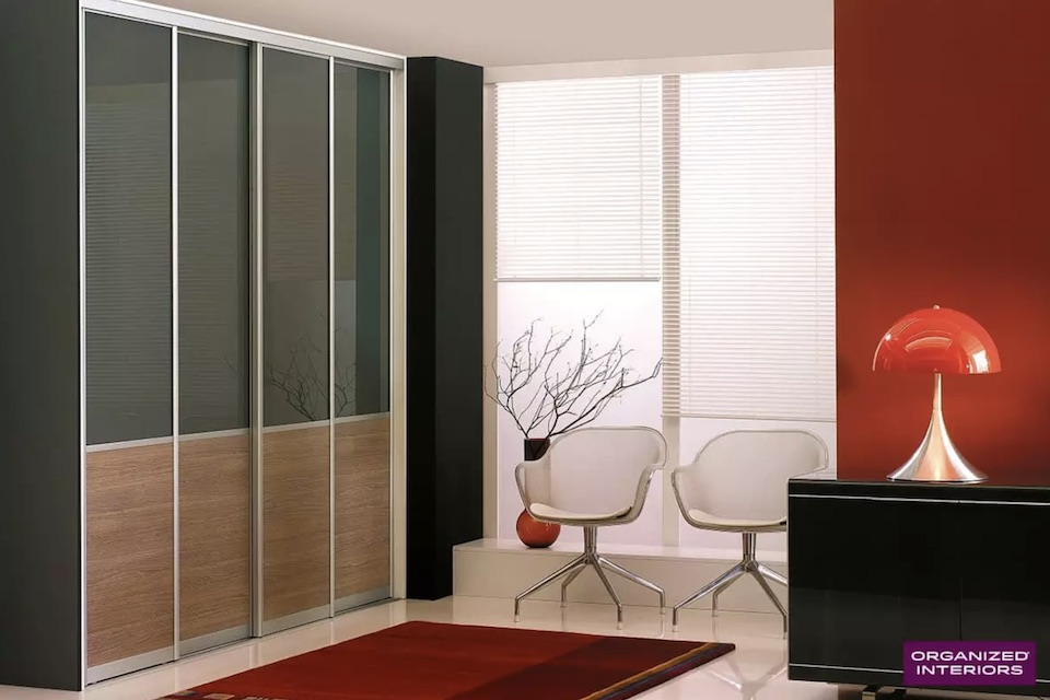 sliding closet doors with wood and glass