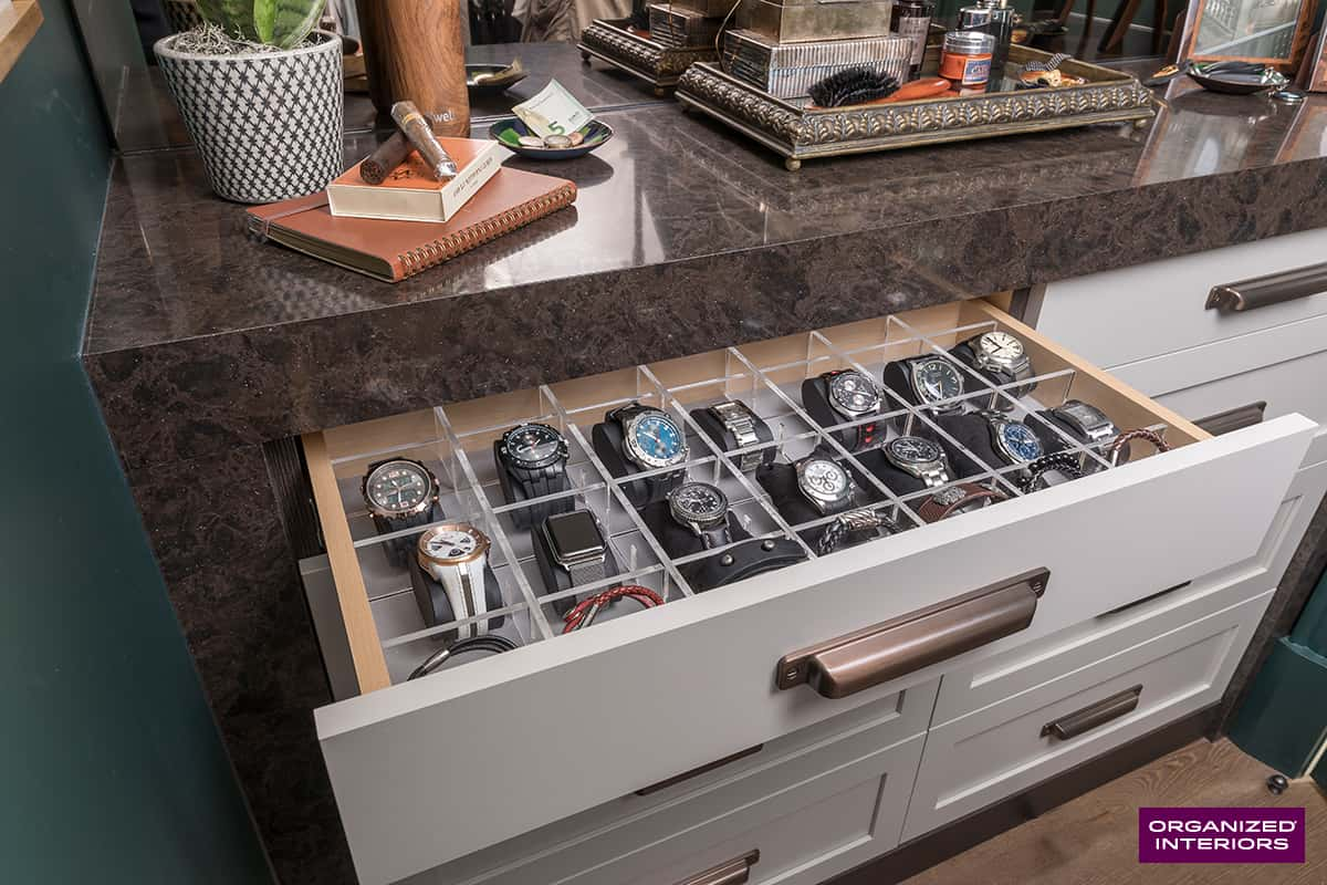 watches in open drawer