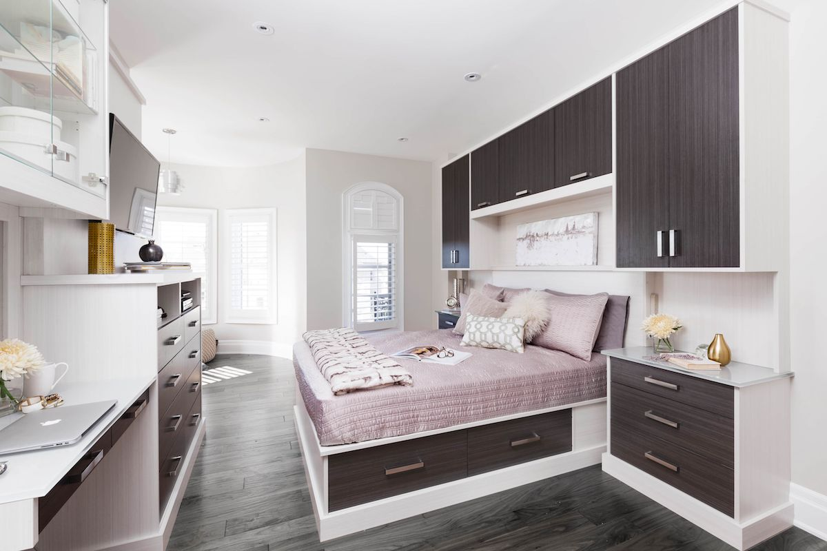 Storage bed with bedroom cabinetry