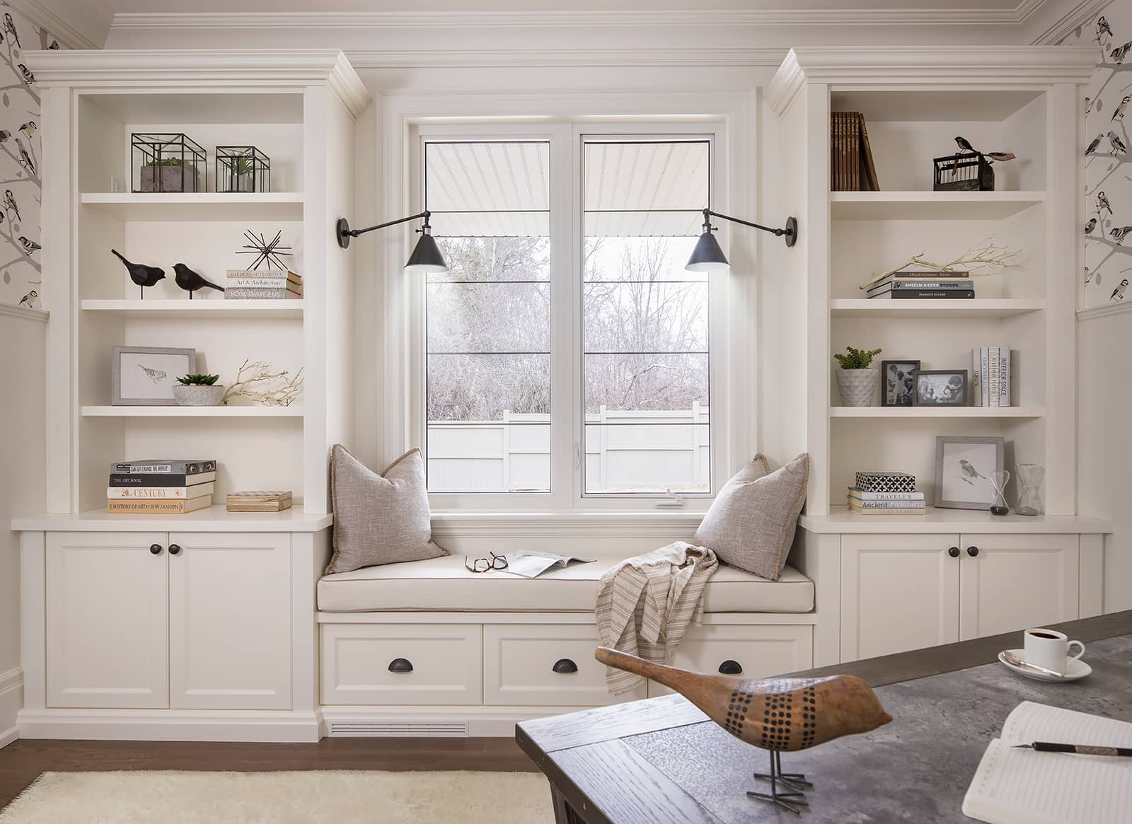 white window seat built-ins in a home office